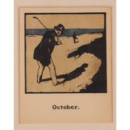 "Original Vintage British Lithographic Poster ""October"" Nicholson 1898"