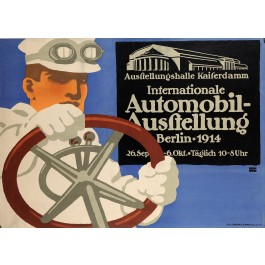 """Original Vintage German Poster  for The """"Berlin Auto Show"""" 1911 by Lucien Bernhard"""