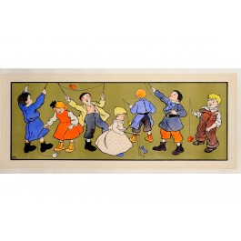 "Original Vintage Advertising Panel ""Children Playing Diabolo"" by Blandin"