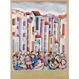 """Original Vintage Signed Lithograph Painting """"The Party""""  by Yuval Mahler 1980´s"""