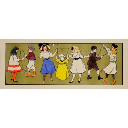 "Original Decorative Panel Lithographic Poster ""Children Playing"" by Andre Blandin"