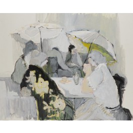 "Itzchak Tarkay ""Tea Time"" Mixed Media on Paper on Board 23.6X30.3 inches 1984"