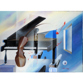 """Original Acrylic on canvas Painting by Hei Feng """"The Black Piano"""""""