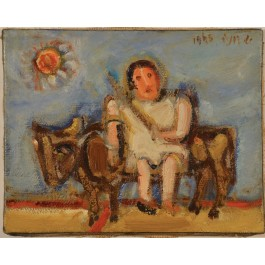 Original Signed Oil on Canvad Little Girl by Shmuel Boneh 1965