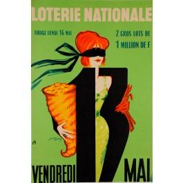 "Original Vintage Loterie Nationale Poster ""Vendredi 13 May"""