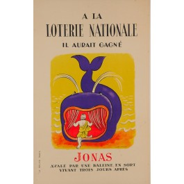 "Original Vintage Loterie Nationale Poster ""Jonas"" by Lucien Boucher-1960"