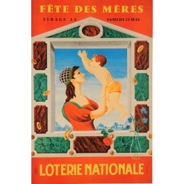 "Original Vintage Loterie Nationale Poster ""Fete Des Meres"" by Lesourt"