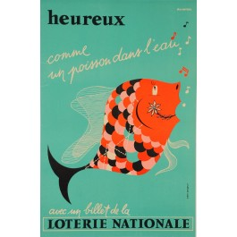 """Loterie Nationale Poster """"Heureux"""" Max Dufour Max–Dufour"""""""