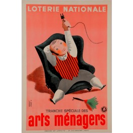 "Original Vintage Loterie Nationale Poster ""Arts Menagers"" by Derouet 1938"