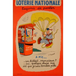"""Original Advertising Poster """"Loterie Nationale"""" by J. Pruvost ca. 1960"""