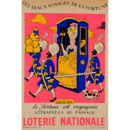 "Original Vintage Loterie Nationale Poster ""sous LOUIS XVI"" by Lucien Boucher 1959"