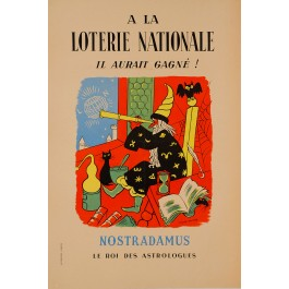 "Original Vintage Loterie Nationale Poster ""Nostradamus"" ca. 1960"