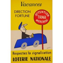 """Original Vintage Loterie Nationale Poster by Grove """"Vacances"""" 1962"""