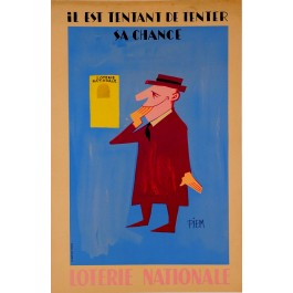 "Original Vintage French Loterie Nationale Poster ""Il Est Tentant De Tenter sa Chance"" by Piem 1950's"
