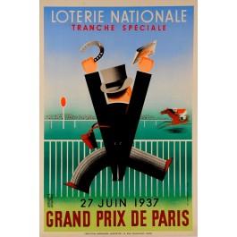 """Loterie Nationale Poster """"Grand Prix de Paris"""" Grilleres 1937"""
