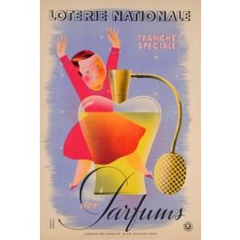 """Original Vintage Loterie Nationale Poster  """"Parfums"""" Derouet Lesacq 1939"""