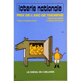 Original Vintage Loterie Nationale Poster by Savignac ca. 1980
