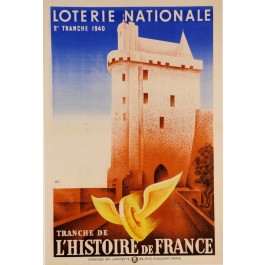 "Original Vintage French ""Loterie Nationale"" Poster 1940 Signed D. L."