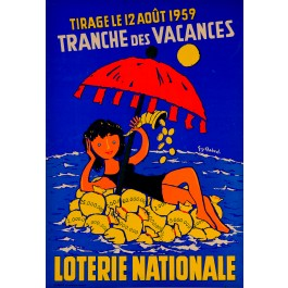 "Original Advertising poster ""Loterie Nationale"" by Chabrol Guy Chabrol 1959"