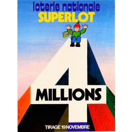 "Original Vintage French Poster ""Loterie Nationale"" ""4 MILLIONS"" by Anonymous"