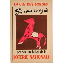 """Vintage Loterie Nationale Poster """"La Favorited"""""""