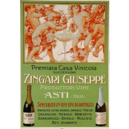 "Original Vintage Advertising Poster Alcoholic Drink ""Zingari Giuseppe"""