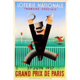 Loterie Nationale Poster ;Grand Perix Paris, Derouet Grilleres