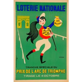 """Loterie Nationale Poster """"Prix de l´Arc de Triomph"""" Y. Fournier"""