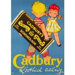 """Original Vintage Chocolate German Ad Poster """"Cadbury's schokolade"""" by Sim"""