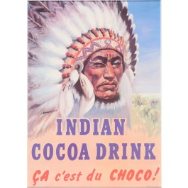 Vintage French Advertising Poster Indian Cocoa Drink