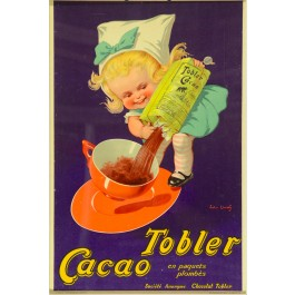"Vintage French Poster for ""Tobler Cacao"" by John Onwy"