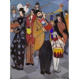 "Original Signed Gouash on Paper ""The Accordionist"" By Isaac Maimon 1985"