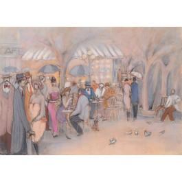 """Isaac Maimon Original Painting """"Lido Cafe""""  75x104 cm"""