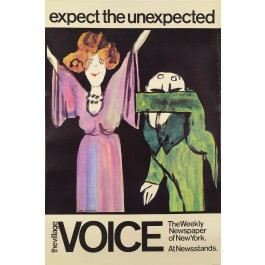 """Original Vintage Tomi Ungerer Poster """"Expect the Unexpected"""" 70's"""