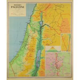 "Original Vintage Map ""MODERN PALESTINE"" copyright 1955 George Philip & Son"