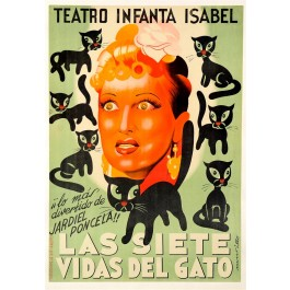 """Original Vintage Spanish Poster """"Las Siete Vidas Del Gato"""" Cats ca. 1970"""
