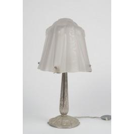 RARE Bronze Plated Glass Art Deco Desk Lamp by MULLER FERRER 1925