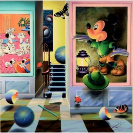 """Oil on canvas painting """"Homage to Mickey Mouse"""" by Ferjo."""