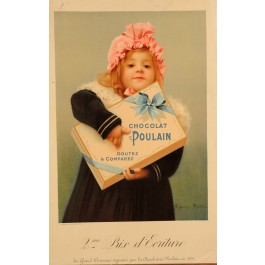 "Original Vintage Chocolat Poulain Poster using the Slogan ""Goutez et Comparez"""