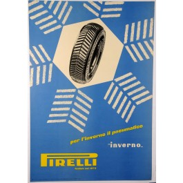 "Vintage Italian Auto Industry Poster for ""Pirelli"" Tires"