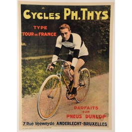 "Vintage French Bicycle Poster ""Cycles Ph. Thys"""