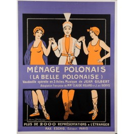 """Original French Operetta Vintage Poster """"Ménage Polonaise"""" by Dorival 1914"""