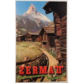 "Original Vintage Swiss Travel Poster for the ""Zermatt"" Mountain Village 1950's"