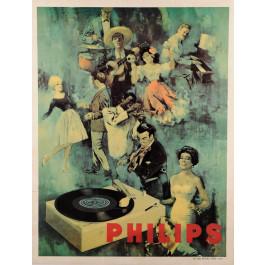 Original Vintage Advertising Poster PHILIPS ca. 1960