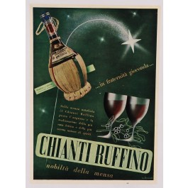"Original Vintage Tuscany Italy Poster ""CHIANTI RUFFINO"" Wine by U. Torricelli ca. 1950"