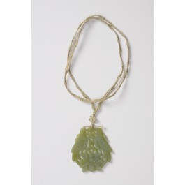 """Vintage Pendent Translucent Jade """"Two Doves"""" String Wooven Chain Handmade"""