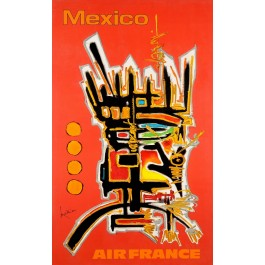 "Original Vintage French Travel Poster for ""Air France Mexico"" by  Mathieu Georges 1960's"
