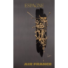 "Original French Poster ""Air France Espagne"" Spain by MATHIEU GEORGES 1960's"