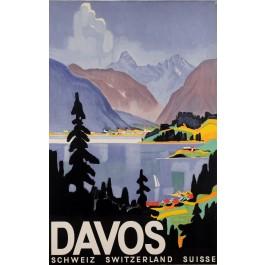 "Original Vintage Swiss Travel Poster ""Davos"" Ski Resort by Otto Baumberger 1932"