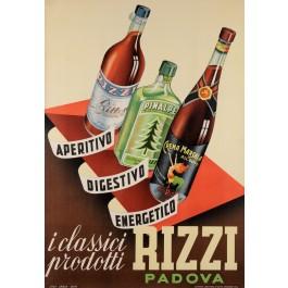 "Original Vintage Italian Alcohol Poster Advertising ""Rizzi"" ca. 1950"